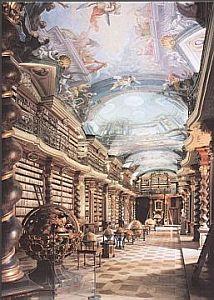 Baroque library - postcard